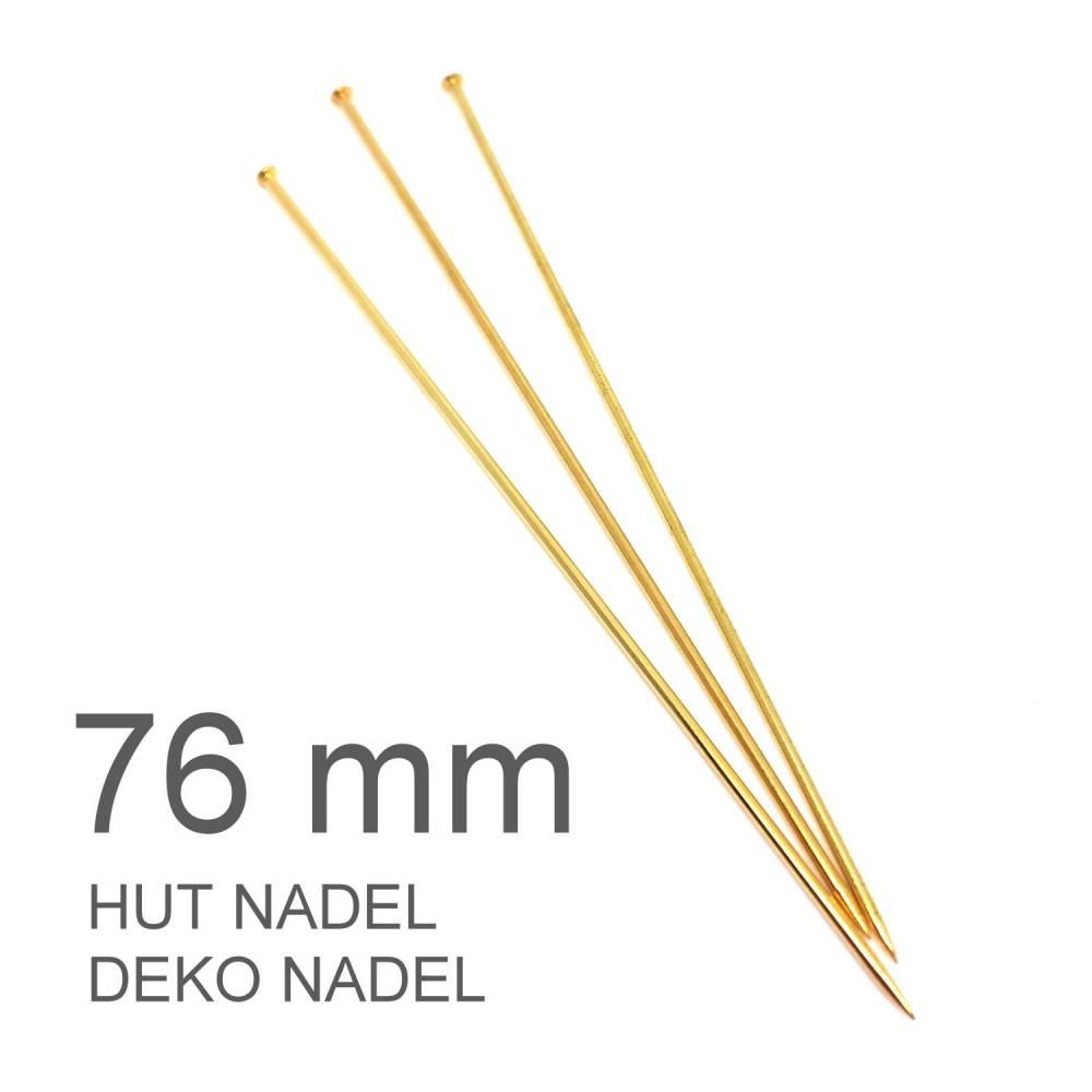 Hutnadeln   Dekonadeln   Pin   Nadel mit Spitze   L: 76 mm   gold beschichtet   N2R 108G   AUSWAHL Bild 1