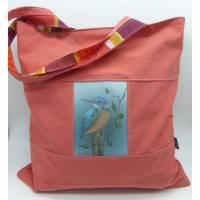 Shopper Eisvogel, hochwertiger Qualitätsdruck, Gemälde Vogelmalerin, gepatcht, Unikat von hessmade Bild 1