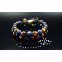 Herren Edelstein Doppel-Armband aus Tigerauge Onyx und Lapis Lazuli mit Knotenverschluss, Makramee Armband, Geschenk für Mann, 8 mm Bild 1