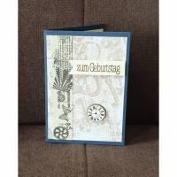 """Geburtstagskarte """" zum Geburtstag """" Uhren , Schlösser , Schlüssel , VintageLook Bild 1"""