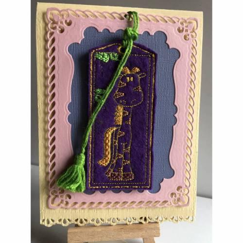 Kindergeburtstags-Karte mit Lesezeichen Giraffe - passend für ein Buchgeschenk
