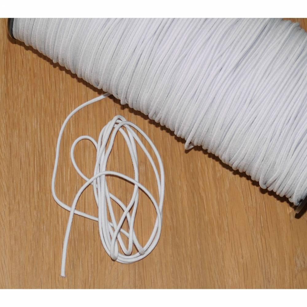 Gummikordel in weiß rund 2,5 mm Durchmesser Gummiband Maskengummi - angenehm weich -  waschbar bei 60 Grad - auch als Gummi für Mund-Nasen-Masken Bild 1