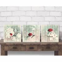 Flügeltiere LADYBUG & BLÜTEN Tierbild auf Holz Leinwand Print Wanddeko Landhausstil Vintage Shabby Chic handmade kaufen Bild 1