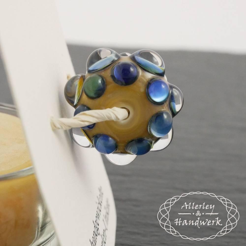 Einzelperle Augenperle Silberglas blau ● Handgewickelte Glasperlen ● Lampwork Bild 1
