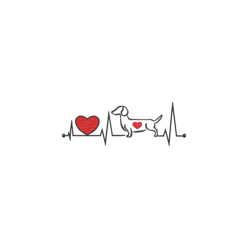 Stickdatei Herzschlag Dackel Outline stilisiert Dachshund Teckel Hund Herz Pfote 13x18 Rahmen Maschinenstickerei Bild 1