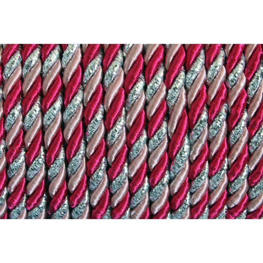 Kordel Meterware pink, rosa und silberfarben, Geschenkband, Geschenkkordel, Bastelmaterial, Material für Kränze Bild 1