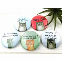 3er Set Ansteck-Buttons Set mit frechen Katzen-Sprüchen, zum selbst zusammenstellen Bild 1