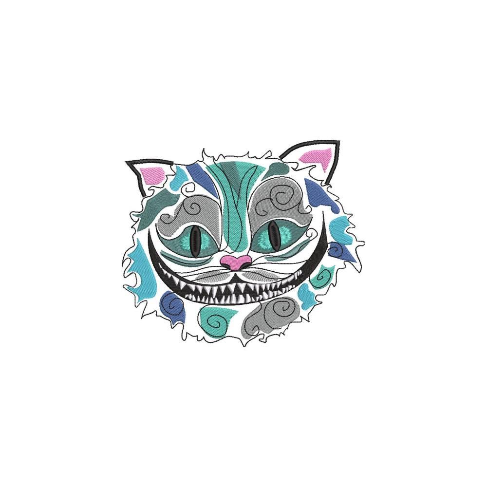 Stickdatei Grinsekatze Chesire 5 Größen Alice im Wunderland Maschinenstickerei  Tiere Cartoon Clipart Katze Gesicht Krallen Bild 1