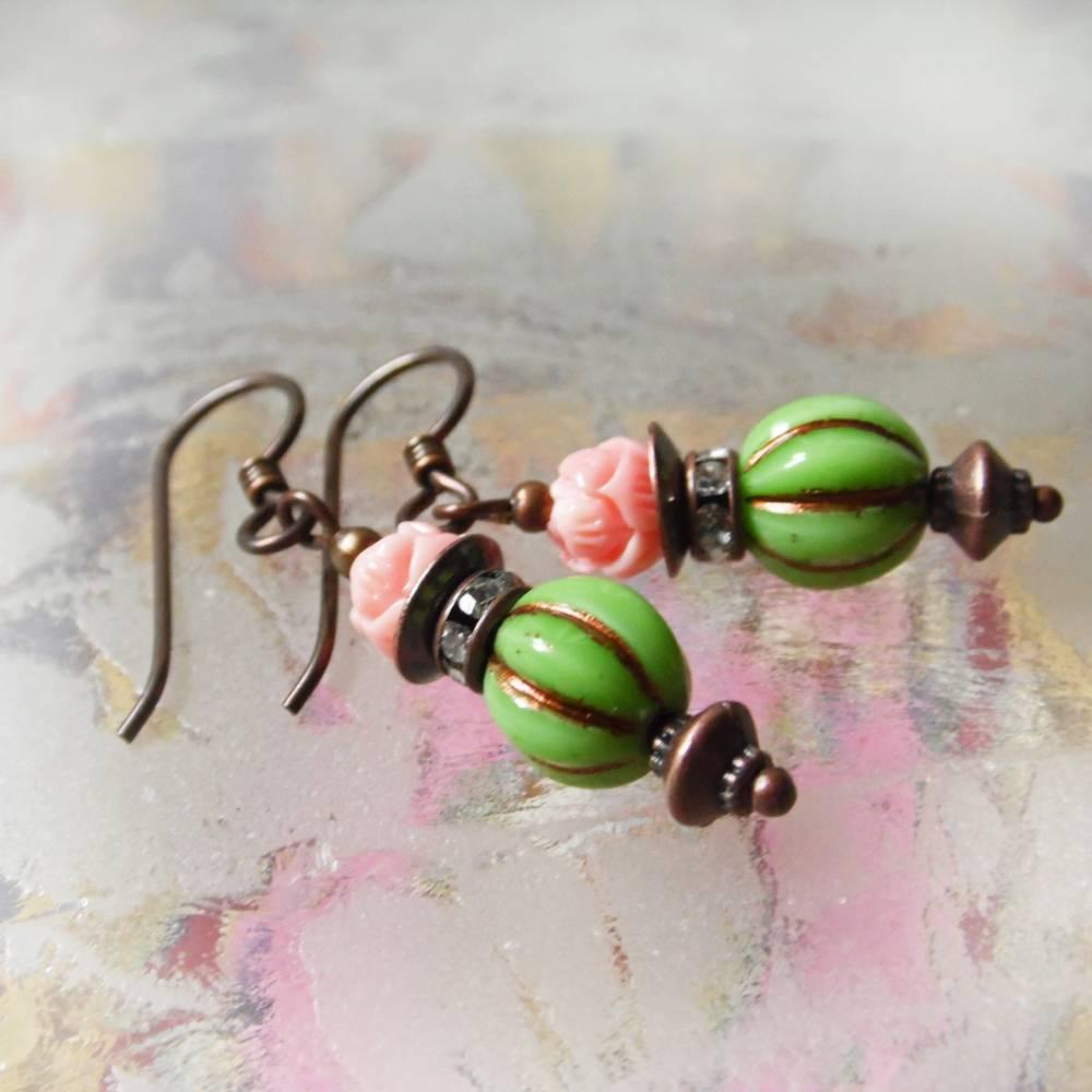 Blüten Ohrringe grün rosa - hypoallergene Niob Ohrhänger Lotos Bild 1