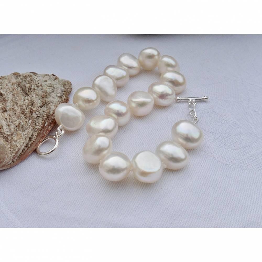 Armband aus weissen echten Perlen als Brautschmuck Bild 1