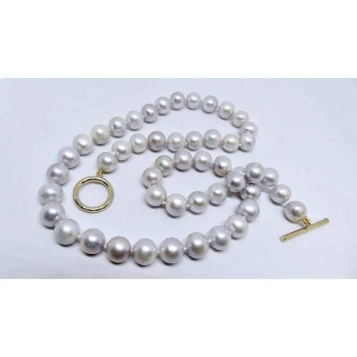 Perlencollier Perlenkette Klassiker elegant silbergrau grau Zuchtperlen 9 mm Verschluß 18 K