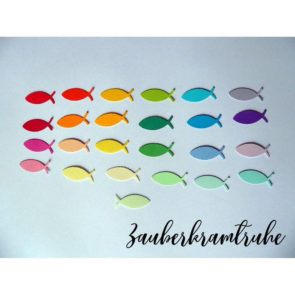 100 Regenbogen-Fische in 25 Farben (4 Stück pro Farbe) zum Dekorieren und Basteln für Taufe Kommunion Konfirmation 2,5cm Bild 1