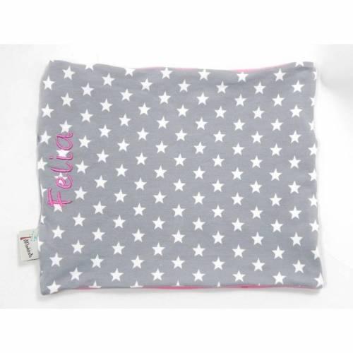 Schal mit Namen Rundschal Schlauchschal grau rosa