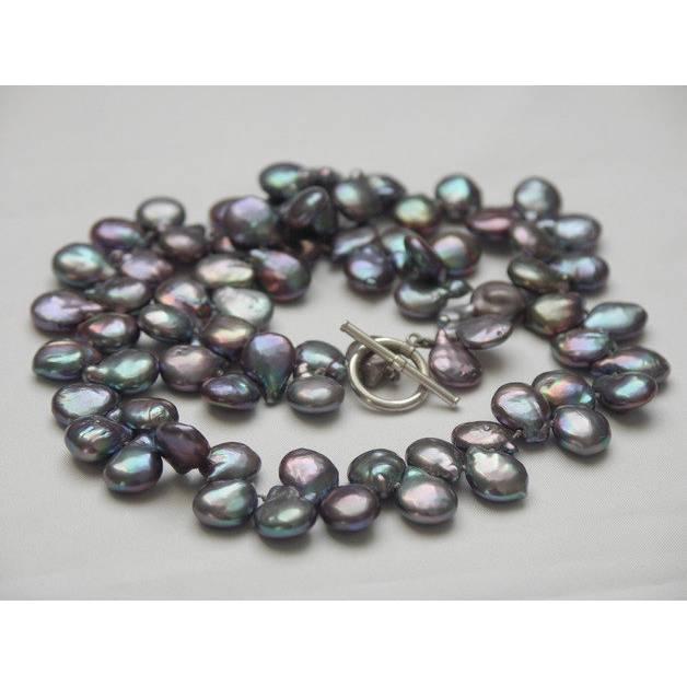Perlenschmuck Perlencollier Perlenkette echte schwarze Perlen extravagante Tropfenperlen mondän Abendschmuck Bild 1