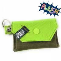 Mini - Geldbörse, Gelbeutel, Grün Olive mit Schlüsselring Bild 1
