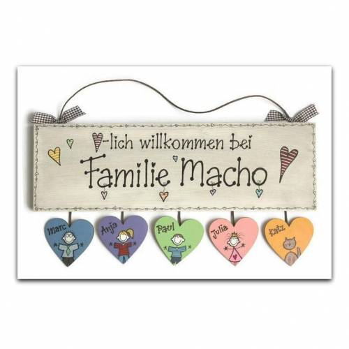 Türschild Holz handbemalt individuell personalisierbar, Namensschild Familie