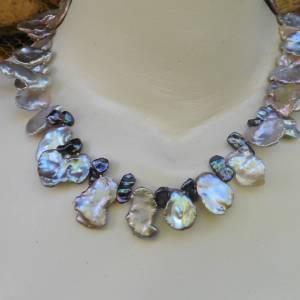 Echte Perlenkette, dekorative Keshi-Perlen bis 30 mm Bild 1