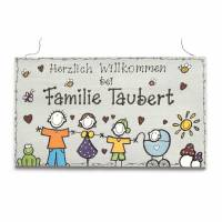 Shabby Türschild Familienschild Comicfamilie Namensschild Holzschild von Hand bemalt Unikat individuell personalisiert Bild 1