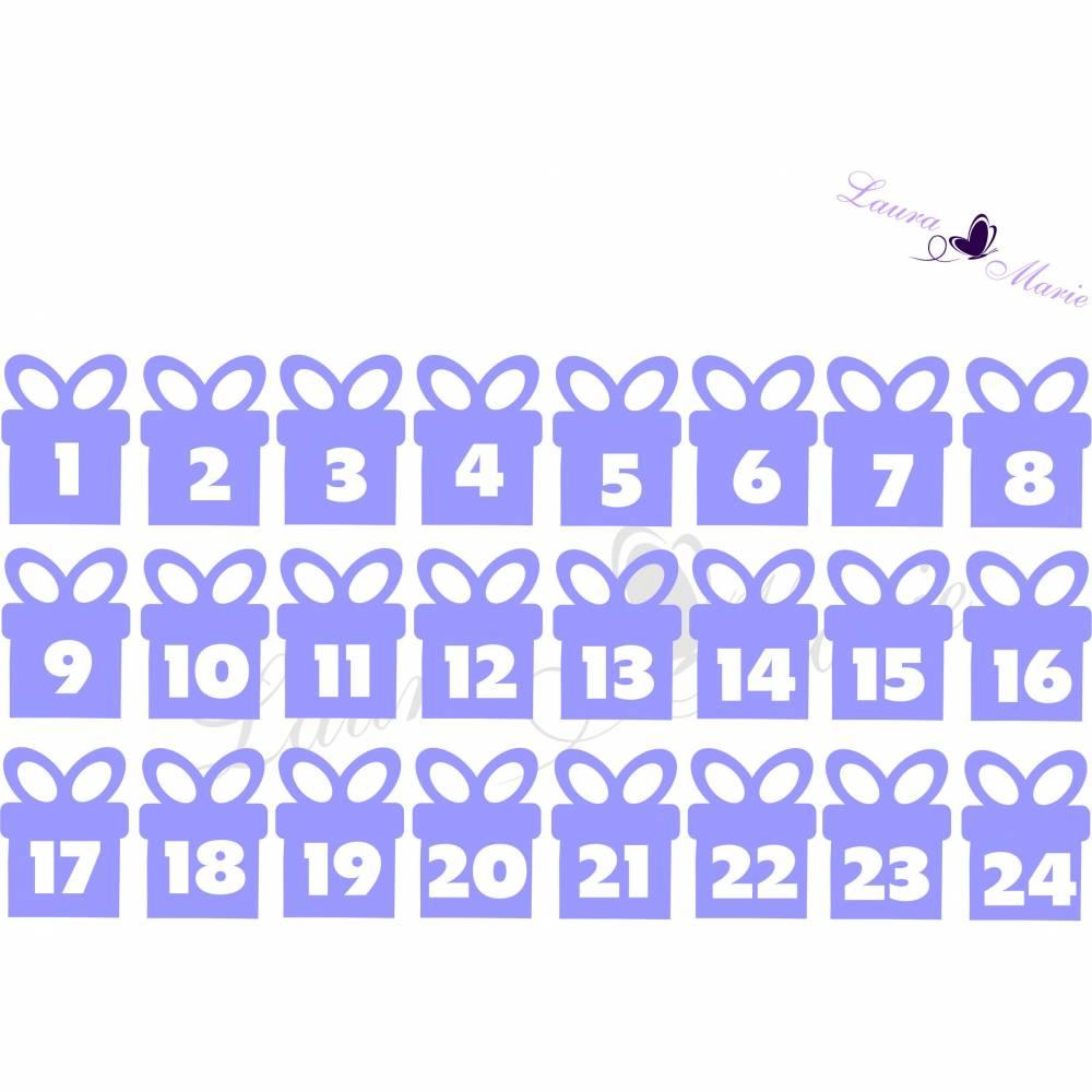 Bügelbild Flex Adventskalender Zahlen Paket Bild 1