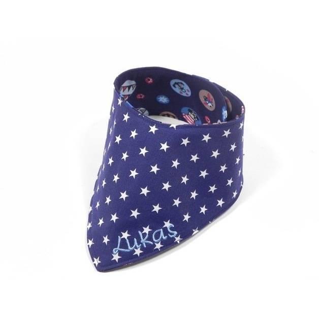 Namenstuch Babyhalstuch Halstuch mit Namen blau Bild 1