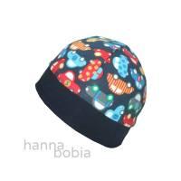 Mütze, Bündchenmütze, Kopfumfang 44 - 46 cm, bunte Autos auf blau Bild 1