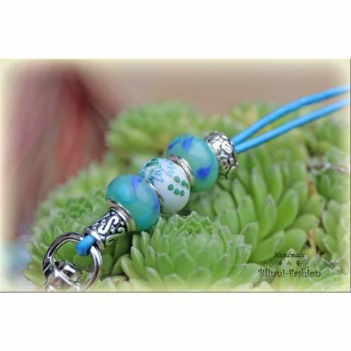 Pfeifenband aus Leder mit Lampworkperlen und Keramikperlen, Schlüsselband für die Hundepfeife