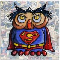Original Collage und Acryl: Super Owl/20x20 cm Bild 1