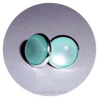 Ohrstecker, silberfarben mit hellblauem Stein Bild 1