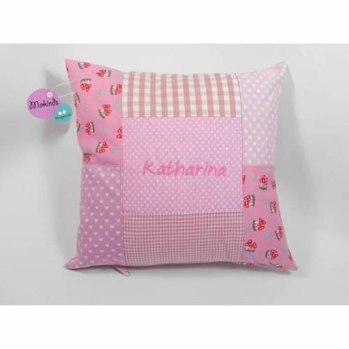 Kissenhülle mit Namen Kissenbezug rosa Pilze