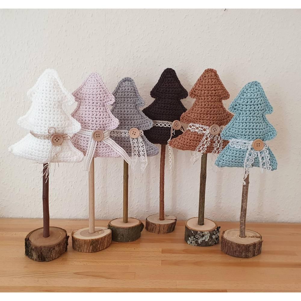 Tannenbaum gehäkelt, Weihnachtsbaum zum Aufstellen 35 cm Bild 1