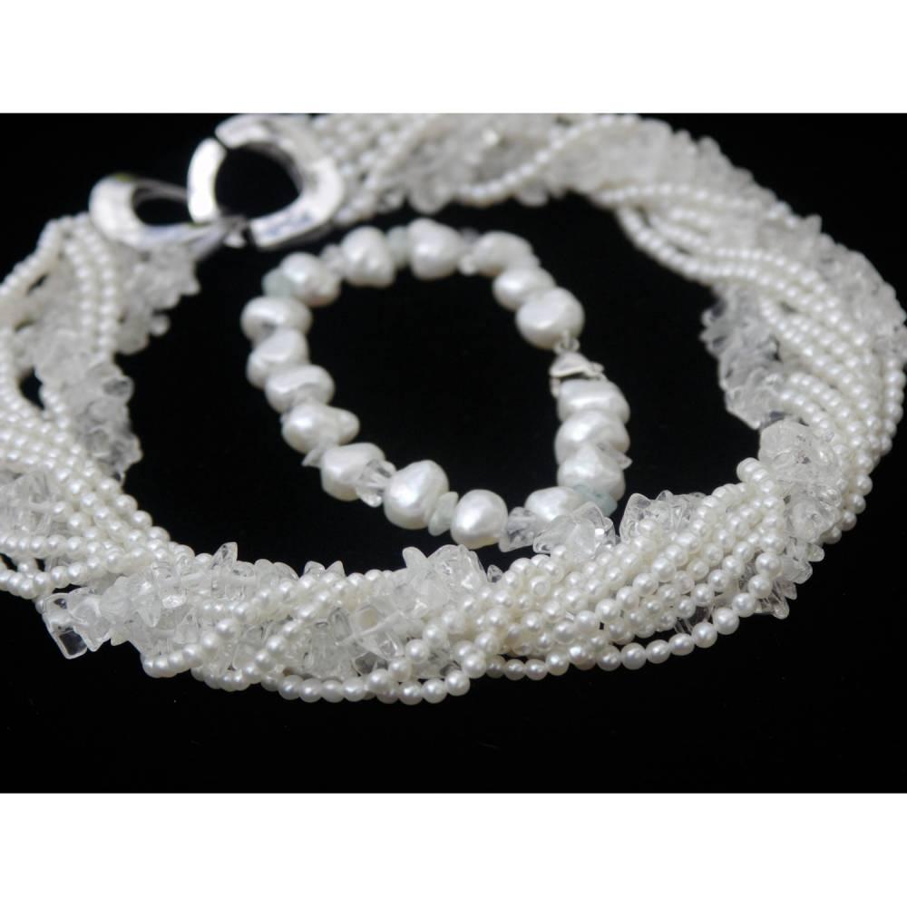 Brautschmuck-Set echte Perlen und Bergkristall: üppige weiße Kette mit 10 Strängen und Armband  Bild 1