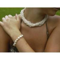 Brautschmuck-Set echte Perlen und Bergkristall: üppige weiße Kette mit 10 Strängen und Armband  Bild 2
