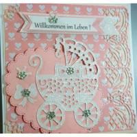 Grußkarte Geburt Mädchen - rosa - mit 3 TEXTEN inclusive   Bild 1
