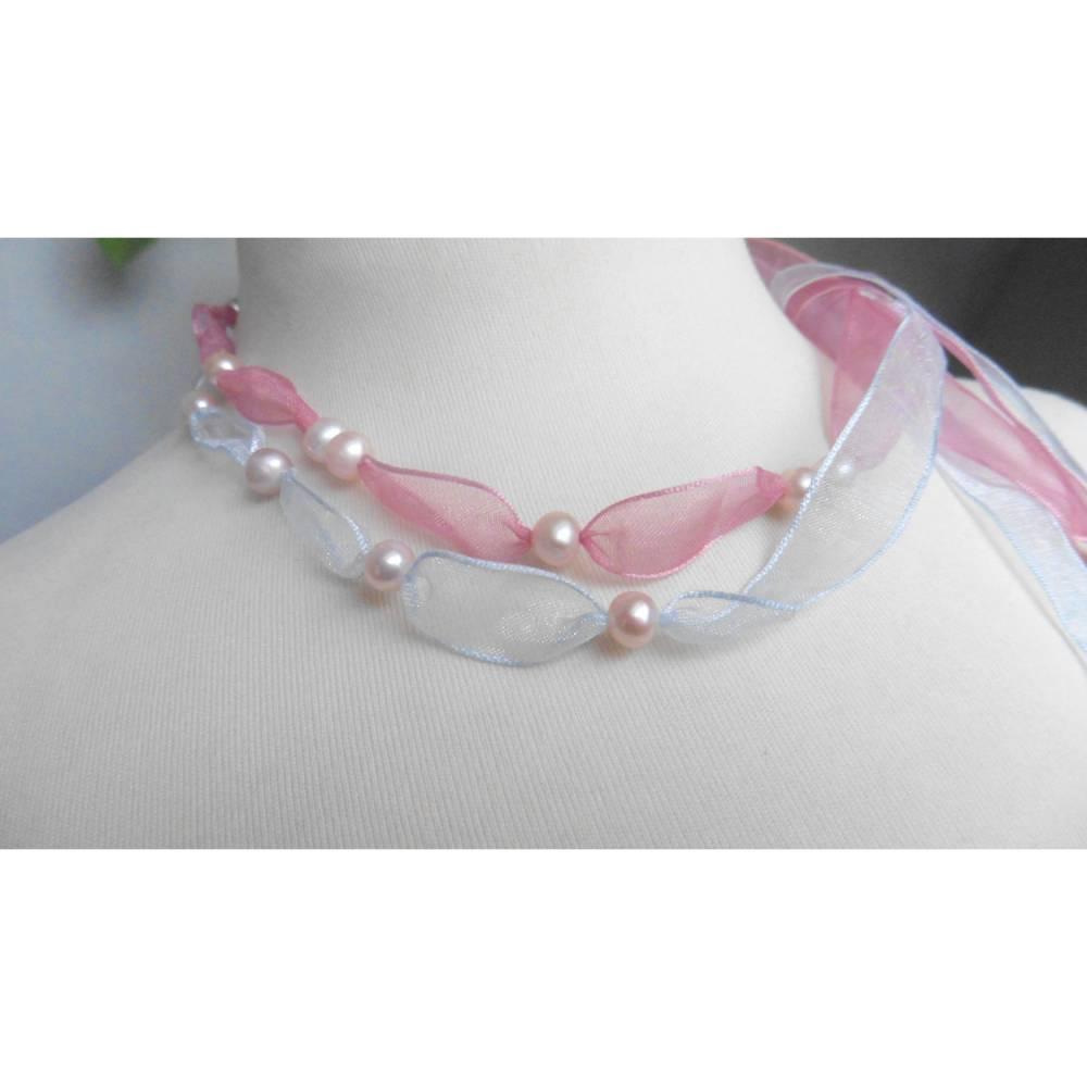 Seidenband mit Perlen als Hochzeitsschmuck Bild 1