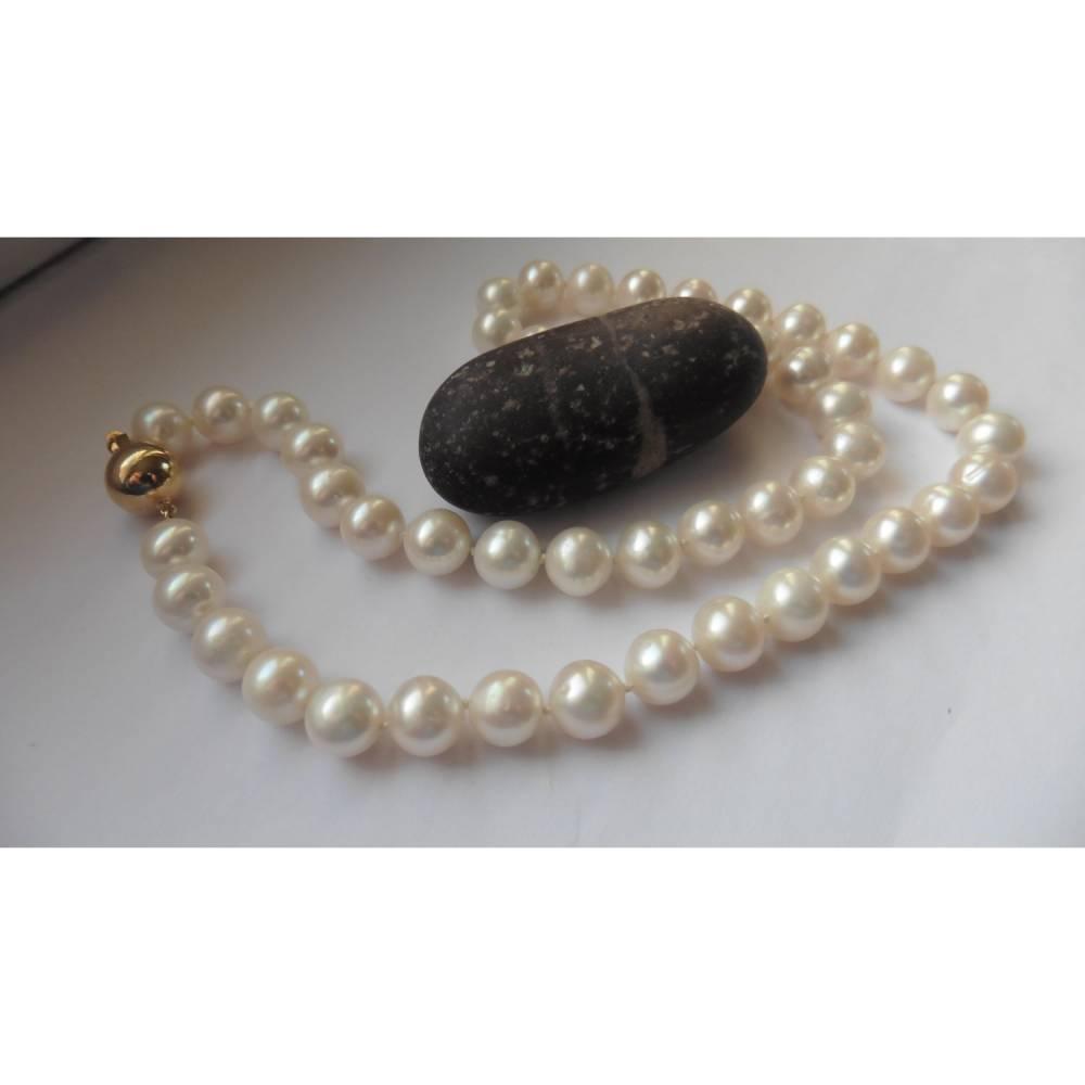 Perlenkette echte große runde weiße Perlen 8,5-9 mm zur Hochzeit Bild 1
