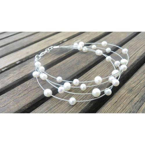 Perlenarmband 4 Reihen Draht, schwebende Perlen, filigraner Armschmuck
