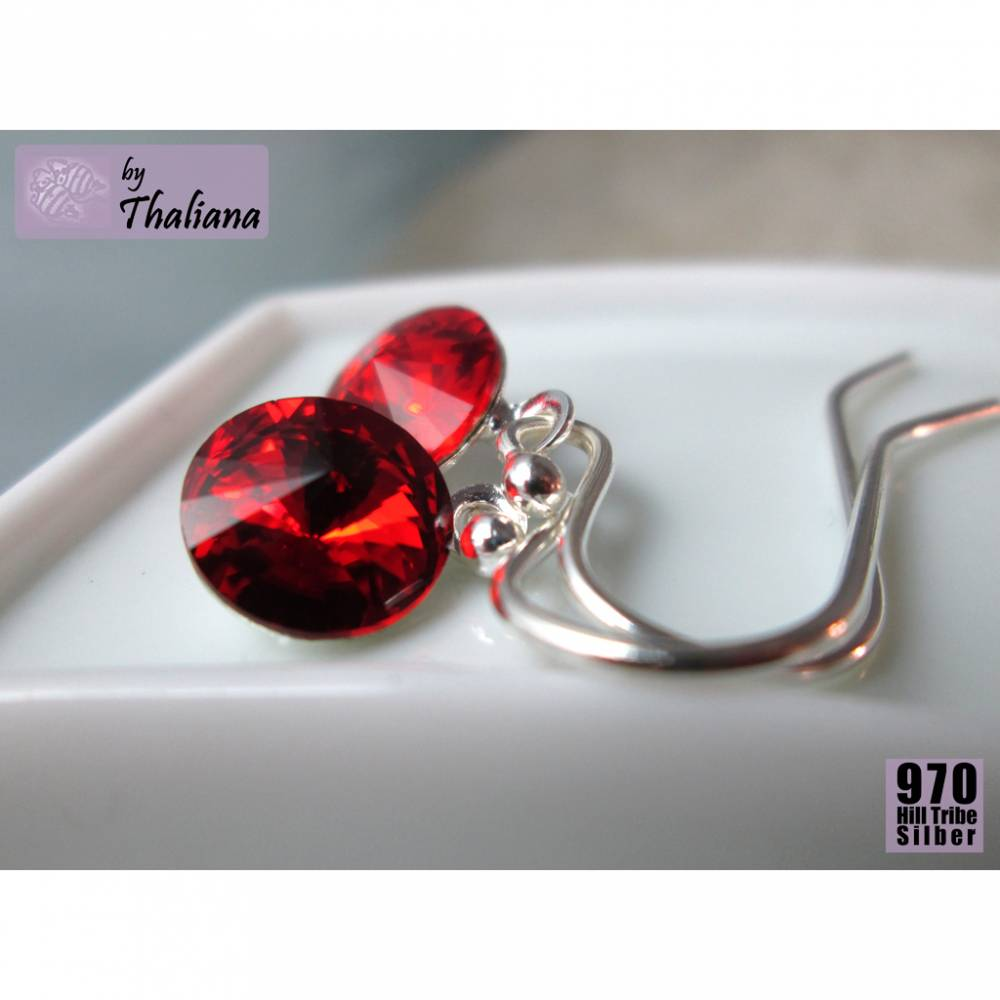 Mini-FUNKELei Knallrot rote Ohrringe Silber Bild 1