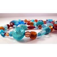 Lange blau/braune Halskette, XL-Kette, Wildlederquaste Bild 1