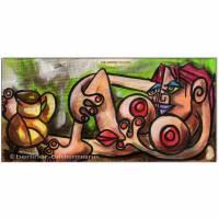Original Acryl Collage auf Leinwand: Picasso Style Erotic Art 12/ 15x30 cm Bild 1