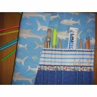 Stifterolle mit 28 Fächern für kurze und lange Stifte Meer Fische blau Bild 1