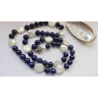 Perlenkette klassisch-elegant, runde echte Perlen und blauer Lapislazuli  Bild 1