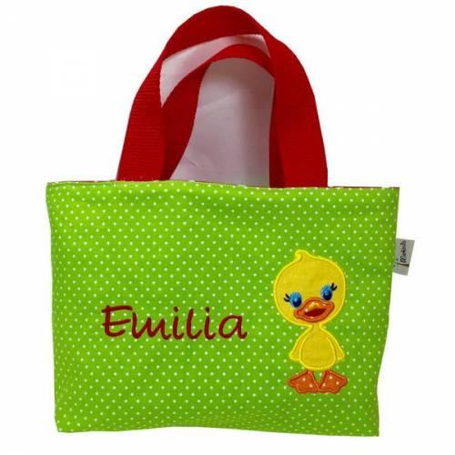 kleine Tasche Kindertasche Ente grün