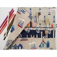 Rollmäppchen 28 Fächer Mäppchen Stifterolle Maritim blau Einschulung  Bild 1