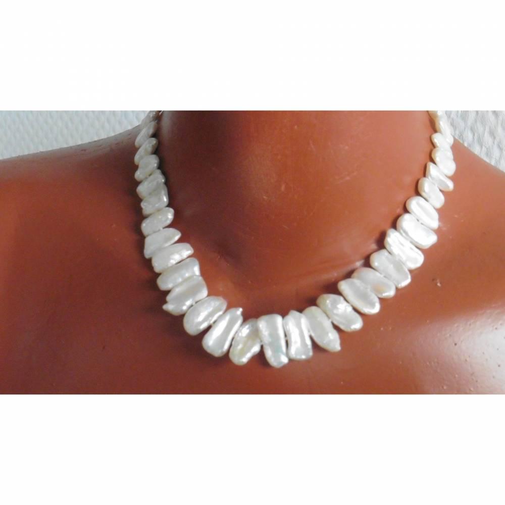 Perlencollier weiße Perlen echte  Keshi Perlen Hochzeitsschmuck Brautkette 10/22mm Bild 1