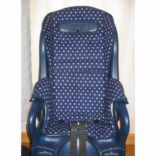 ERSATZBEZUG Auflage für Fahrradsitz Jockey Comfort Fahrradsitzbezug  Sterne blau, Polster aus Baumwolle