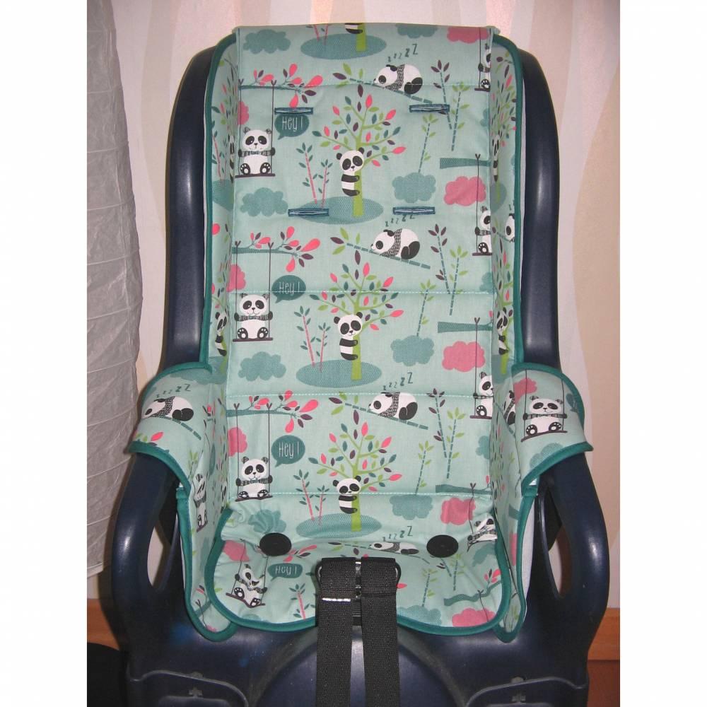 ERSATZBEZUG Auflage für Fahrradsitz Jockey Relax Panda türkis,  Fahrradsitzbezug Polster aus Baumwolle Bild 1