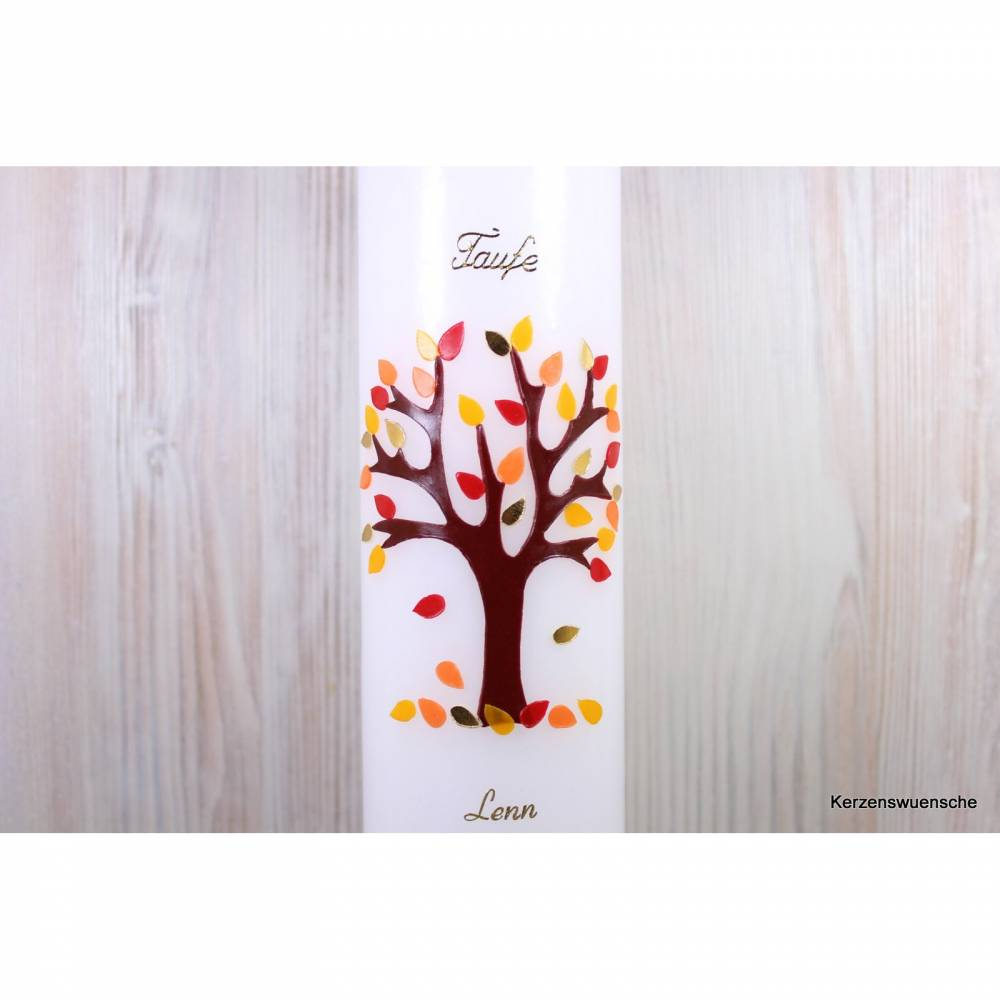 Taufkerze Lebensbaum Herbst 2 Bild 1