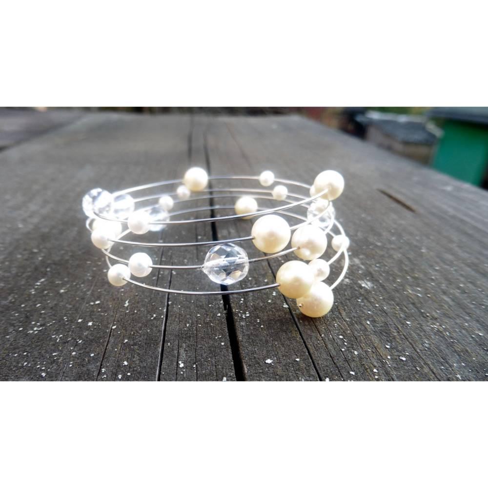 Armreif vierreihig, Perlen, Kristall, Glitzerarmband, Bild 1