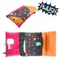 Windeltasche, Wickeltasche, 3-Seitig, Grau Rosa Orange Tierchen Bild 1