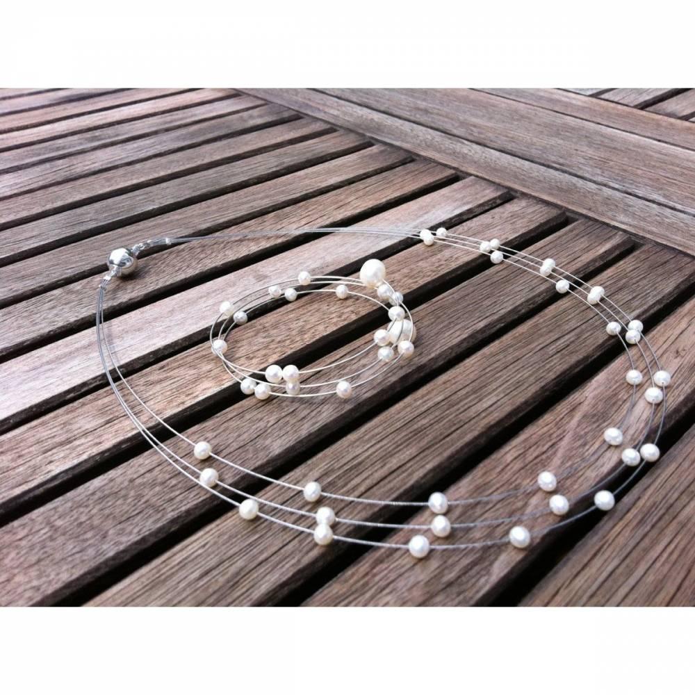 Hochzeitsschmuck Perlen, Schmuckset 2-teilig für zierliche Bräute, echte Perlen Bild 1